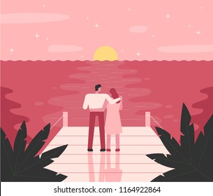 A romantic mood of a couple standing on a beach with a sunset. flat design style vector graphic illustration set