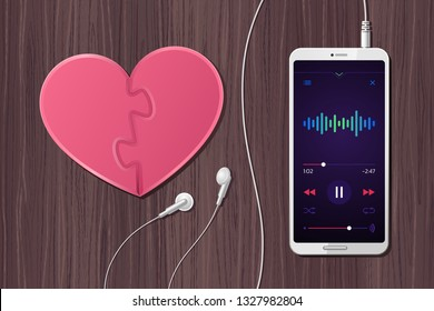 Romantic Mood. Top view at desktop composition of a smartphone showing player app on its screen, connected earphones and heart-shaped puzzle beside of them. Illustration on the subject of 'Lifestyle'.