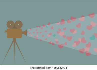 Romantic movie night. Retro inspired Valentine`s day background. Vector flat illustration of a movie projector projecting colorful hearts.