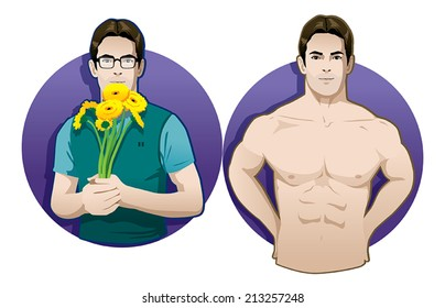 romantic nerd and muscle man vector isolated