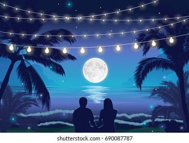 Romantic night beach scene with a couple sitting on the beach under the full moon, palms and hanging party lights, vector illustration