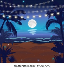 Romantic night beach scene with a full moon, palms and hanging party lights, vector illustration