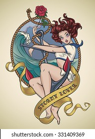 Romantic old-school tattoo design of a sexy sailor girl sitting on a ship anchor and holding a red rose in her hand. Editable vector illustration.