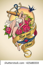 Romantic old-school tattoo design of a sexy girl lying on red roses over a ship anchor. Editable vector illustration.