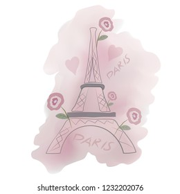 Romantic Paris. Background vector pattern with Eiffel tower,  hearts and  rose.