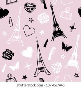 Romantic Paris. Seamless pattern for design. Vector