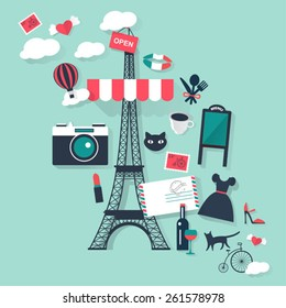 Romantic Paris tourism concept image.Vacation flat vector french icons