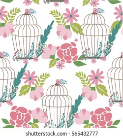 Romantic pattern with flowers, birds and cages. Vector illustration