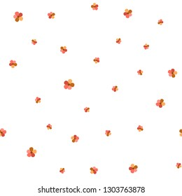 Romantic Pattern with Flowers Living Coral color. For your design, textile, pattern fills, posters, cards, background etc. Elements are not cropped. Pattern under the mask. Vector.