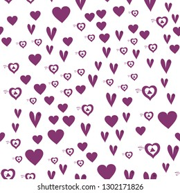 Romantic Pattern with Hearts Dark moderate pink color. Endless pattern can be used for design, textile,  pattern fills, posters, cards, web page background etc. Pattern under the mask. Vector.