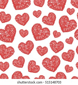Romantic pattern with hearts drawn doodles. Celebratory Event, Valentine's Day, wedding, a date. graphic abstract drawing chaotic. vector Stock