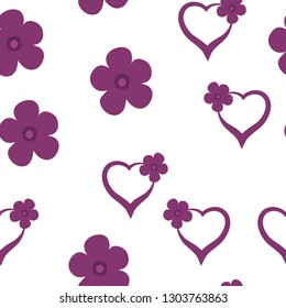 Romantic Pattern with Hearts and Flowers Dark moderate pink color. For your design, textile, pattern fills, posters, cards, background etc. Elements are not cropped. Pattern under the mask. Vector.