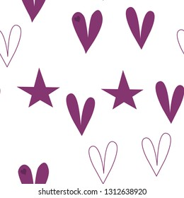 Romantic Pattern with Hearts and Stars Dark moderate pink color. This pattern can be used for design, textile,  pattern fills, posters, cards, web page background etc. Pattern under the mask. Vector.