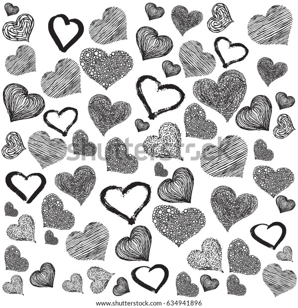 Romantic pattern with painted hearts. Graphic design by hand
