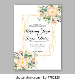 Romantic peach orange dahlia chrysanthemum peony greenery bouquet bride wedding invitation template design Vector floral background party celebration bridal baby shower congratulation greeting card