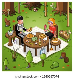 Romantic picnic dinner with couple enjoying pretzels and salad in a forest (vector illustration)
