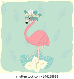 Romantic pink flamingo with floral tropical wreath. Vector hand drawn illustration.