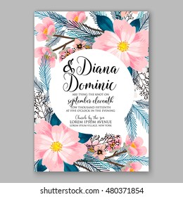 Romantic pink peony bouquet bride wedding invitation template design. Winter Christmas wreath of pink flowers and pine and fir branches.