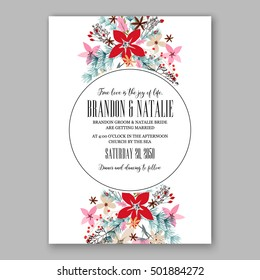 romantic pink peony bouquet bride wedding invitation template design winter christmas wreath of pink flowers