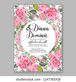 Romantic pink peony ranunculus greenery bouquet bride wedding invitation template design Vector floral template background party celebration bridal baby shower anniversary congratulation greeting card