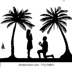 Romantic proposal on seacoast between the palms on the beach of a man proposing to a woman while standing on one knee silhouettes, one in the series of similar images