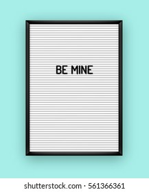 Romantic quote on white letterboard with black plastic letters. Hipster vintage Valentine card 80x, 90x.
