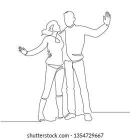Romantic relationship continuous thin line drawing. Romance, young couple in love. Girlfriend and boyfriend, husband and wife. Dating, passion, valentine day. Minimalistic outline illustration
