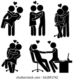 Romantic Relationships. Boy and Girl Falling in Love Together. Stick Figure Pictogram Icon