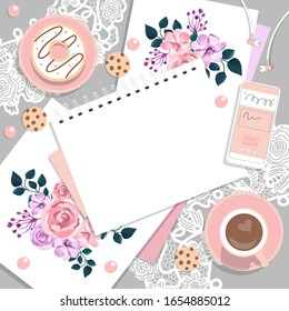 Romantic retro women's business frame. Top view of the desktop with Notepad, phone, coffee, cookies, and watercolor drawings.