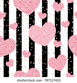 Romantic rose gold glitter hearts on black stripes seamless pattern.