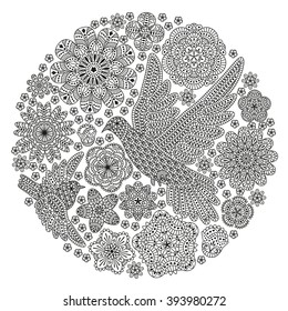 Romantic round background with flowers and birds. Decorative dove and sparrow. Romantic floral pattern. Good for T-shirt design, bag, invitation card, etc. Black and white colors. Vector illustration