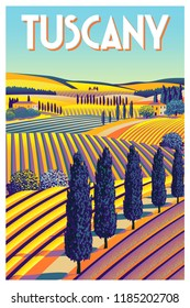 Romantic rural landscape in sunny day in Italy with vineyards, farms, meadows, fields and trees in the background. Handmade drawing vector illustration. Flat design. Poster in the Art Deco style.