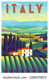Romantic rural landscape in sunny day in Italy with vineyards, farms, meadows, fields and trees in the background. Handmade drawing vector illustration. Flat design. Vintage Poster.