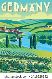 Romantic rural landscape in sunny day in Germany with vineyards, farms, meadows, fields and trees in the background. Handmade drawing vector illustration. Flat design. Poster in the Art Deco style.
