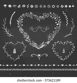 romantic rustic set, set of vector decorative elements for Valentine's Day, perfect for romantic and spring decorations, vector floral elements and heart-shape frames