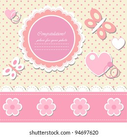 Romantic scrapbooking (vector version eps 8). Baby beautiful girl card with your text for invitation, greeting, frame, birthday, label, postcard, congratulate, frame, gift and etc.