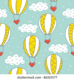 romantic seamless pattern with balloons and hearts
