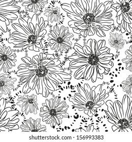 Romantic seamless pattern with beautiful daisy flowers. Vector in the style of hand-drawn printing on fabric, wallpaper and more. Easily edited. Vector illustration. EPS 10.