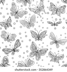 Romantic seamless pattern with butterflies and flowers in black and white