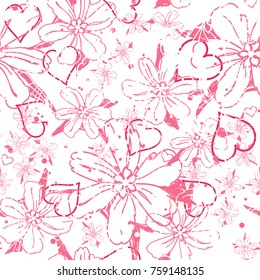 Romantic seamless pattern with hand drawn flowers and hearts. All over print.