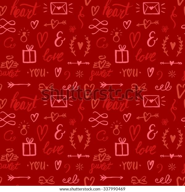 Romantic Seamless Pattern Hand Drawn Ink Stock Vector