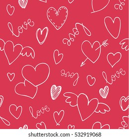 Romantic seamless pattern with hearts and handwritten lettering for your design. Valentines day vector decoration on red background.