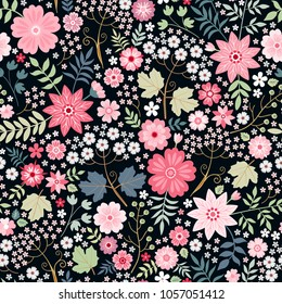 Romantic seamless pattern with little pink flowers and green leaves. Ditsy floral illustration. Print for fabric, wrapping paper, wallpaper. Vector design.
