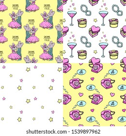 Romantic seamless pattern with retro phone. Vector illustration