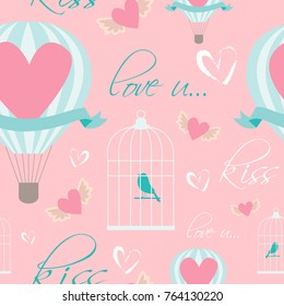 Romantic seamless pattern for Save the date, wedding and Valentines day. Vector illustration