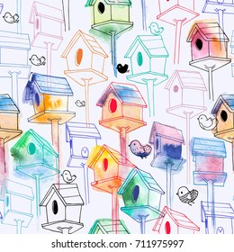 Romantic seamless pattern with watercolor birdhouse on white background. Colorful hand-drawn bird houses in line style. Illustration for fabric print, wallpaper, wrapping paper, backdrop.