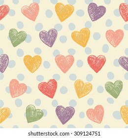 Romantic seamless patterns with hearts. Love concept background for sweet designs.