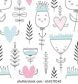 Romantic seamless vector floral pattern with smiling flowers and flying hearts