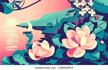 Romantic seascape with tropic flowers in the foreground, mountains, trees and a yacht in the background. Handmade drawing vector illustration. Can be used for posters, banners, postcards, books & etc.
