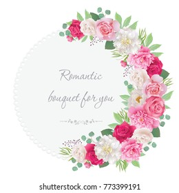 Romantic semicircle garland frame with red and pink roses, white and pink peonies. Can be used as invitation for wedding, birthday, thank you card, Valentine's Day and other holiday background. EPS 10